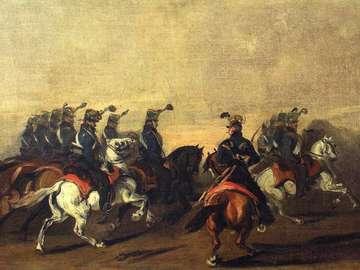 Blue Hussars arbete - Målningen visar en gren av österrikiska hussar, från färgen på de uniformer som kallas blå, va
