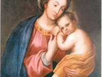 Madonna und Kind - Der vom Autor unbekannte Prototyp fuer die Leinwand der Muttergottes mit Kind aus der Wende des 17.