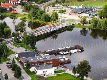 "Iława from a bird's eye view - Hotel ""Stary Tartak"",Basen, nowy most i Hotel ""Port 110"""