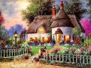 Obraz wiosenny - Kobieta pracuje w ogrodzie