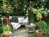 Rozentuin - Rust op een bankje tussen de bloemen
