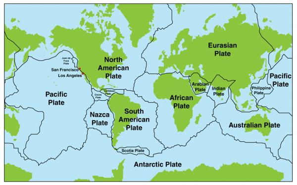 Tectonic Plates - A map of the Earth's tectonic plates (8×9)
