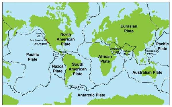 Tektonikus lemezek - A Föld tektonikus lemezeinek térképe (9×6)