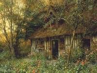 starý dřevěný dům - Malovaný obrázek. Obrázek s dřevěným domem. Dřevěná kabina v zahradě.