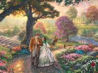 Ručně malované - Thomas Kinkade chodí po zahradě