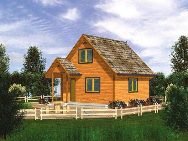 Casa naranja - Projekt domu Bartek z drewna (10×10)