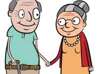 Nagymama és nagyapa - Próbálja meg elrendezni a rajzot.