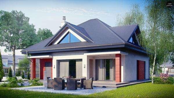 Haus mit Garage - Dom z dáchem czterospadowym i garażem (9×10)