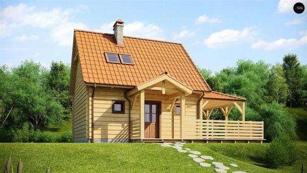 Dom z poddaszem - Drewniany dom z dużym tarasem (10×10)