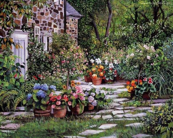 landhuis, tuin, bloemen