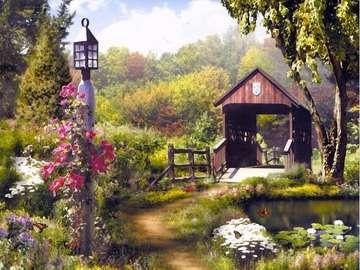 houten tuinhuisje in de tuin