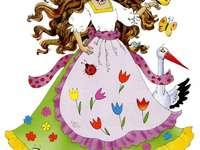 Signora Spring - Signora della primavera. Pani Wiosna - puzzle przedstawiające postać Pani Wiosny. La signora Sprin