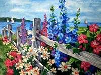 obrazek z płotem , malwami - malwy i inne kwiaty malowane