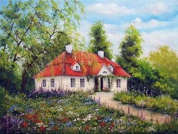 εξοχική κατοικία ανάμεσα σε λουλούδια