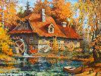 młyn w jesiennym krajobrazie