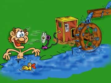 La energía del agua saludable  - zabawa z elektrownią wodną