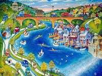 Paesaggio naif - Paesaggio naif con ponte sul fiume