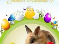 Easter - Puzzle Wielkanocne składające się z 5 wierszy i 5 kolumn. W puzzlach są zawarte życzenia, puzzl