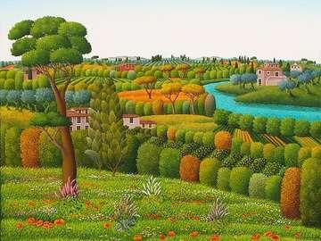 obrazek  malowany - malowany  pejzaż  Toskanii