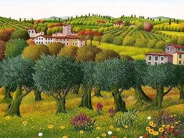 obrazek  malowany - krajobraz Toskanii olivi primavera