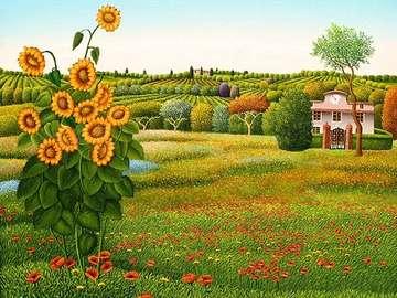 obrazek  malowany - słoneczniki na  łące