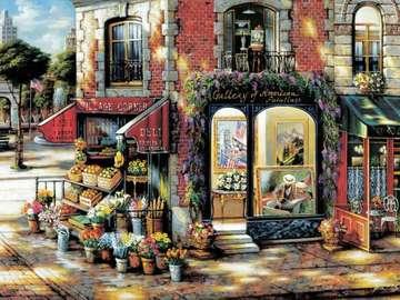 obrazek  malowany - budynek na rogu ulicy