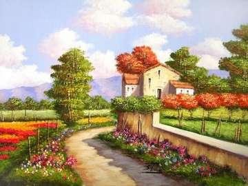 obrazek  malowany - krajobraz  bez tytułu