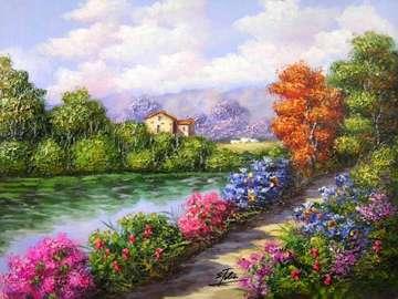 obrazek  malowany - krajobraz - obrazek bez tytułu