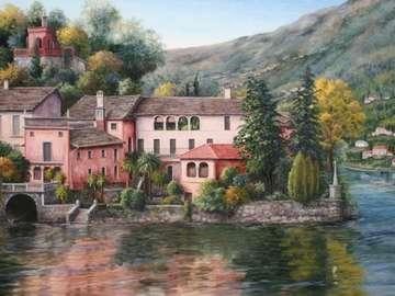 obrazek  malowany - krajobraz miasteczko w górach