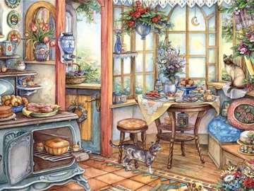 obrazek  malowany - zagracona kuchnia z kotkiem
