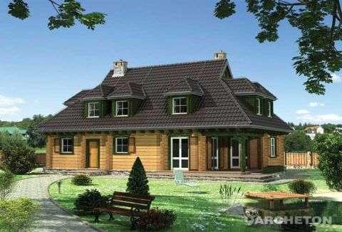 Haus aus Holzscheiten - Duży piętrowy dom drewniany (10×10)
