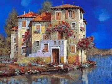 obrazek  malowany - Dom  nad wodą G.Borelli