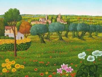 obrazek  malowany - wiosna  w  Toskanii krajobraz