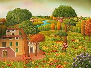 obrazek  malowany - Pochmurne niebo nad Toskanią