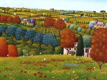obrazek  malowany - krajobraz wiejski Toskanii