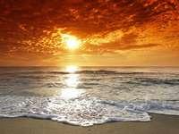 Mar, puesta de sol, olas - Na obrazku widać morze, fale, zachód słońca,