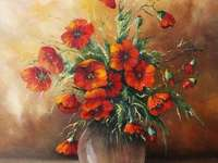 Painted picture - red poppies in a vase