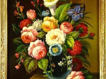 Flowers in a vase - Kwiaty pędzlem malowane