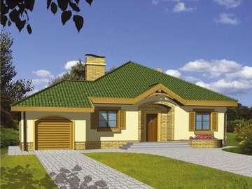 With green visor - Projekt domu Groszek z garażem