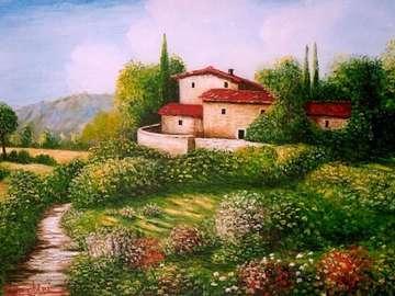 obrazek  malowany - krajobraz malowany Toskania