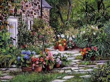 obrazek malowany - dom w ogrodzie i strach