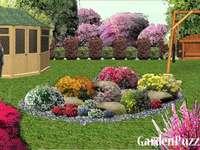 Colorido no jardim perto da casa de campo