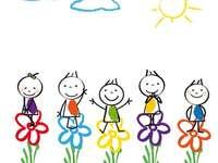 Παιδιά με λουλούδια - Παιδικά παζλ ή συρμένα παιδιά στα λουλούδια