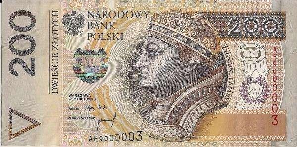 Τραπεζογραμμάτιο 200 PLN - Προσπαθήστε να κανονίσετε ένα τραπεζογραμμάτιο 200 PLN (4×3)