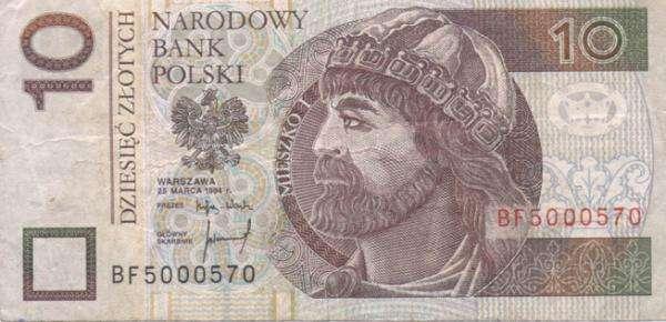 τραπεζογραμμάτιο PLN 10 - Προσπαθήστε να κανονίσετε ένα τραπεζογραμμάτιο 10 PLN (2×2)