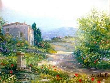 obrazek  malowany - krajobraz Toskanii w malarstwie