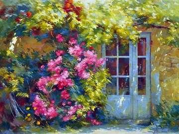 obrazek  malowany - niebieskie drzwi i pnące kwiaty