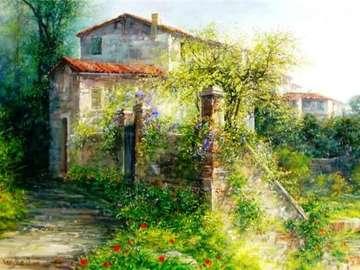 obrazek  malowany - dom w ogrodzie - obrazek