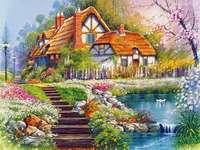 το σπίτι, τον κήπο, λίμνη, σκάλες - σπίτι, κήπος, λίμνη, σκάλες