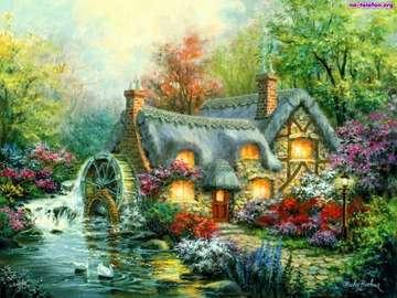 Muehle, Garten, Fluss, Haus